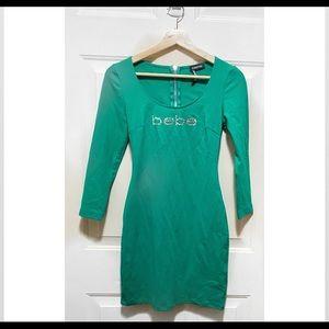 Green BEBE Long Sleeves Bodycon Mini Dress